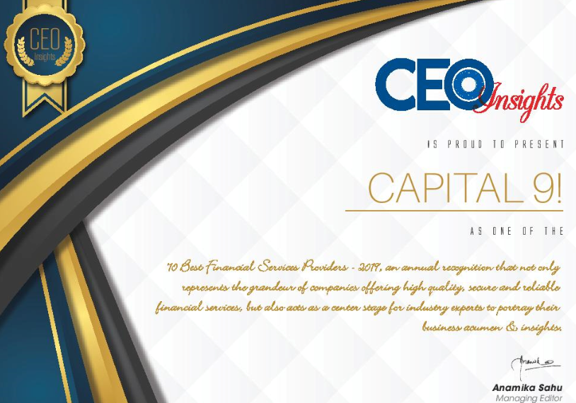 Capital9 Top 10 Financial Services Company - Certificate